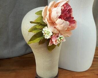 Fascinator Hairflowers Headpiece peony hydrangea flowers Rockabella bridal hair flower pin up vintage Boho fifties Burlesque dusky pink