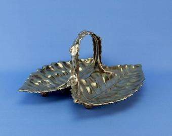 Silver Plated Serving Bowl Basket Leaf Design Fruit Starters Martin Hall & Co Antique English Victorian 1890s