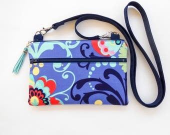 Small Crossbody Bag Phone Case Purse Amy Butler Fabric With 2 Zippers fits iPhone 6, 6 Plus, 7, 7 Plus