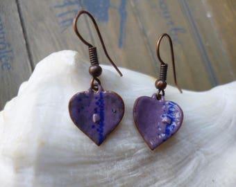 -Enameled, copper, heart earrings - lilac, purple, blue