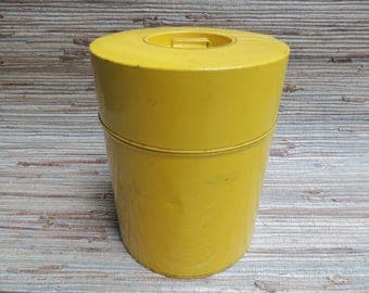 Mid Century Yellow Metal Canister Made In Japan Large Tin