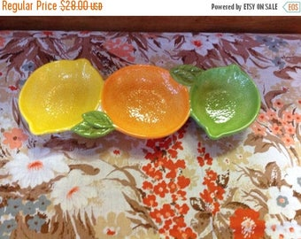 4th of July sale Vintage Fruit Shaped Divided Dish Lime Lemon and Orange Three Section Dish