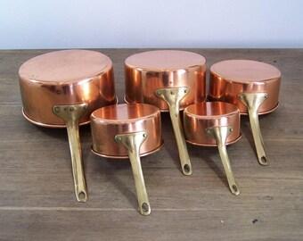 5pc set lot Vintage copper cookware pots pans tin lined