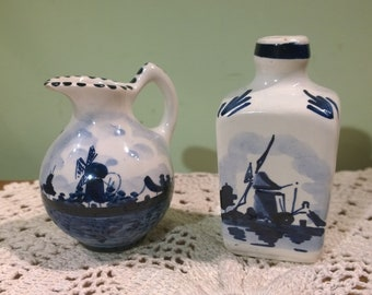 2 small Delft pieces jug and vase  Windmill landscape blue & white Holland