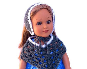 18 Inch Doll Gray Poncho and Hat, Crocheted Poncho and Hat Gray with White Trim, Scandinavian Style Hat