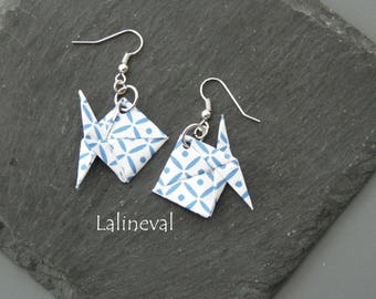 Origami blue fish earrings