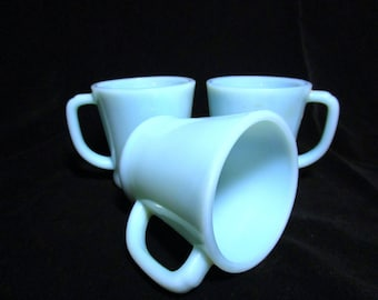 Fire King D Handle Mugs, Blue Turquoise, Set of 3 Mugs, Coffee Cups, Excellent Condition,  Mid Century Dinnerware
