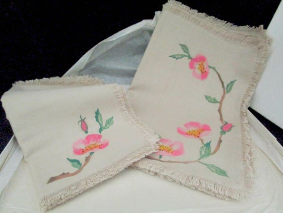 Franciscan Desert Rose Placemats and Napkins, 16pcs, Set of 8 Each, Hand Painted on Linen, Fringed, Late 1940s