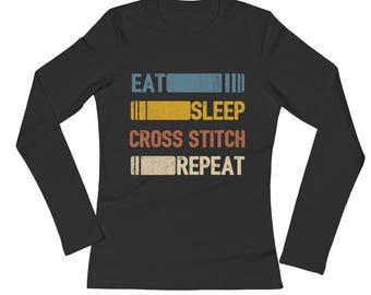 Eat Sleep Cross Stitch Repeat Funny Vintage Retro Gift