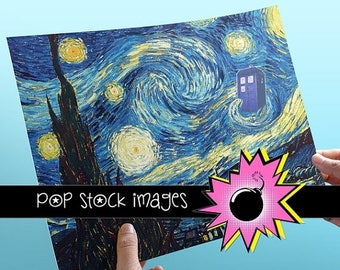 SALE: Doctor Who Van Gogh Starry Night Poster - Printable Art Poster - TARDIS - Digital Poster 8x10 - Doctor Who Poster Printable - 11th Doc