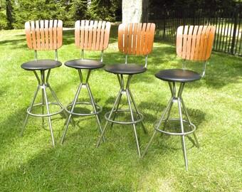 set of 4 vintage mid century bar chrome u0026 wood bar stools