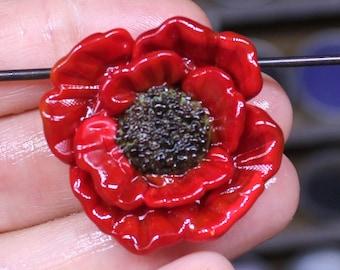 Red poppy focal flower bead 33mm