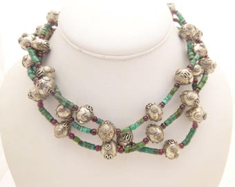 Turquoise, Garnet and Sterling Silver Triple Strand Choker Necklace