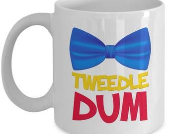 Disney Tweedle Dum Gift Mug Disneyland Dee Coffee Cup Bow Tie Alice