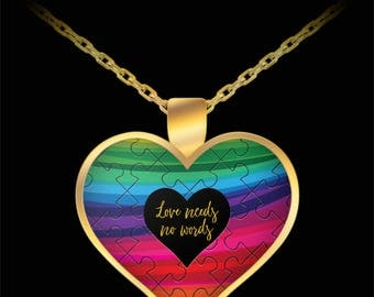 Autism Awareness Love Needs No Words Necklace Gift Heart Puzzle Ribbon (Choice of Metal)