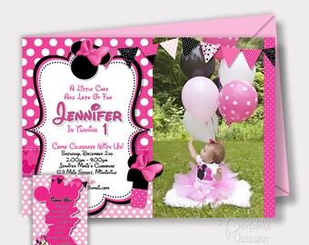 Minnie Mouse Birthday Invitation, Pink Minnie Mouse Invitations, Printable Invitation, Minnie Photo Invitation, Pink Polka Dots, 1st 2nd 3rd