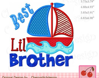 Best Lil brother Sailboat Machine Embroidery Applique Design