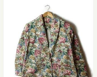 ON SALE Vintage Oversized Floral  Printed Cotton Blazer Jacket from 1980's*