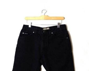 ON SALE Vintage Black High waist Denim Shorts from 90's/W29*