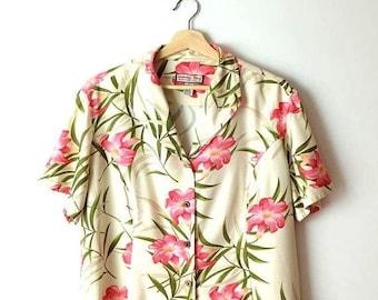 ON SALE Vintage Hawaiian Slouchy Blouse from 90's/Hawaiian Shirt/hibiscus*