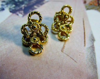 Vintage Gold Tone Triangle Chain Earrings
