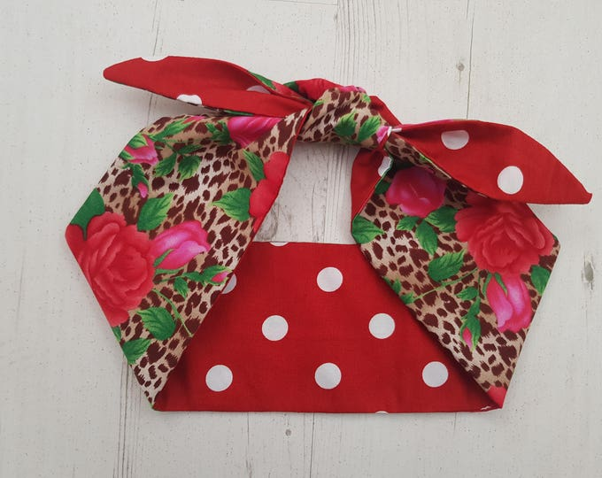 Reversible Vintage Leopard Print And Rose And Red Polka Dot Head Scarf - Tattoo Cool Kitsch 1950s Rockabilly