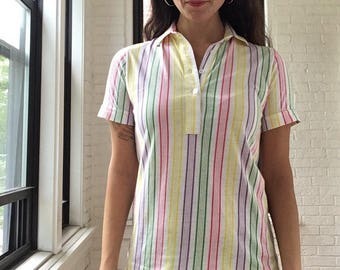 1980s Multicolor Stripe Polo
