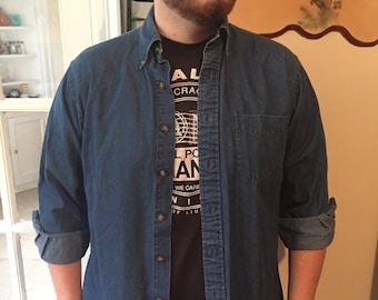 Vintage Blue Denim Brooks Brothers Long Sleeve Button Down Shirt