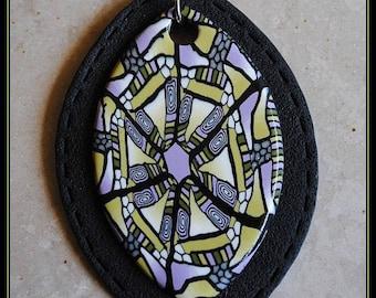 Vet avocado khaki purple white kaleidoscope pattern bullet pendant