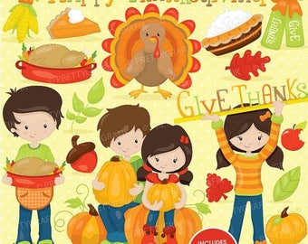 80% OFF SALE Thanksgiving clipart commercial use, fall season, turkey, harvest vector graphics, digital clip art, digital images - CL720
