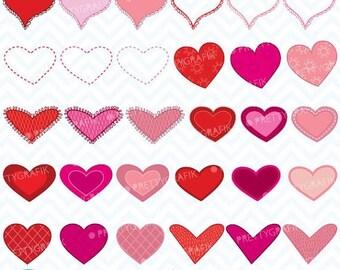 80% OFF SALE valentine hearts clipart commercial use, vector graphics, digital clip art, digital images - CL447