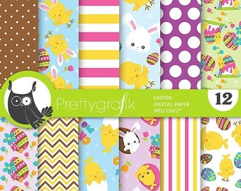 80% OFF SALE Easter digital paper, commercial use, easter scrapbook papers, easter background, easter bunny - PS784