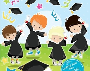 80% OFF SALE Graduation clipart commercial use, Graduation kids vector graphics, Graduation boys digital clip art, digital images - CL980