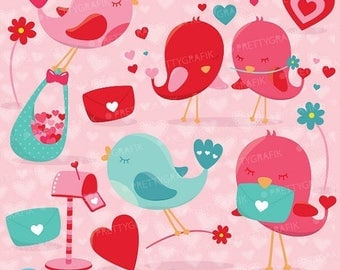 80% OFF SALE Valentine birds clipart commercial use, valentine vector graphics, digital clip art, digital images - CL628