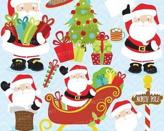 80% OFF SALE 80 Percent 0FF Sale Christmas clipart commercial use,Santa Claus vector graphics, digital clip art, digital images  - Cl607