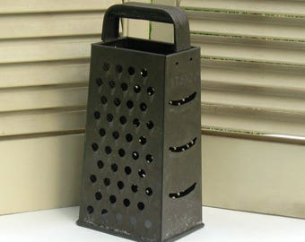 Vintage Box Grater with Aged .Patina by Bromco Rustic Kitchen Farmhouse KItchen