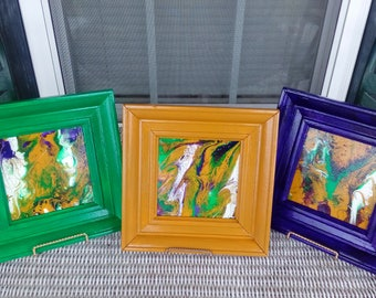 Hand painted Acrylic abstract art on glass, set of three, signed and dated, in color coordinated frames