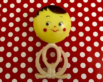 Vintage Baby Rattle Toy Painted Face