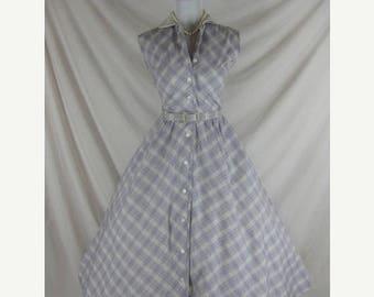 Summer sale 1950s 1960s Johnathan Logan Designer Vintage Purple Plaid FULL SKIRT Cotton Party Dress W 27
