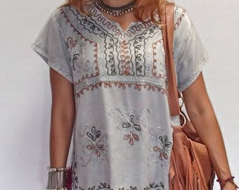 Tulip Indian Blouse/Boho Indian Blouse/Embroidery Blouse/Festival Indian Top/Rayon Blouse 5 colors.