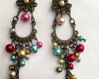 Long Gipsy Earrings - multi color beads with antique plated elements- hand made-hanging: antique plated.