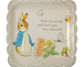 Large Peter Rabbit Plates, Peter Rabbit Scallop Plates, Baby Shower, First Birthday, Baby Birthday, Beatrix Potter, Easter Plates