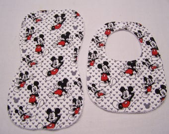Mickey Mouse bib and burp cloth sets for baby boys, girls, infants, or toddlers.
