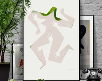 Touch me 1/4. Original illustration art poster giclée print signed by Paweł Jońca.