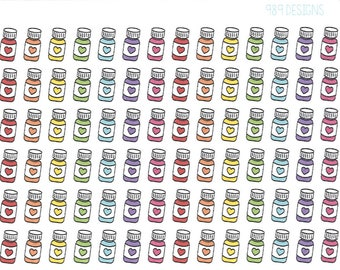 Rainbow Pill Bottle Stickers || Planner Stickers