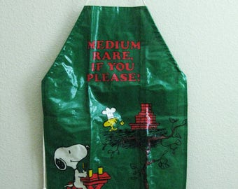 "Snoopy Woodstock Vinyl Apron ""Medium Rare if you Please"" - Peanuts Cartoon"