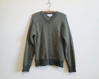 J Crew Dark Green Lambswool Sweater - Small Wool Sweater