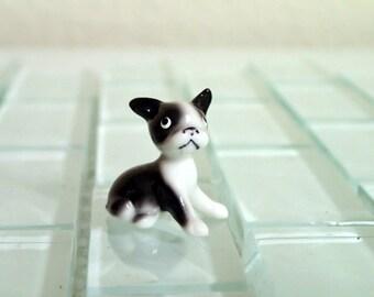 Retired Boston Terrier Puppy Dog Miniature Figurine JAPAN