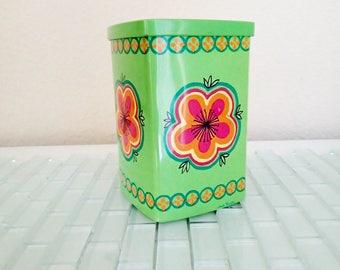 Ira Denmark Anita Wangel Green Tin Canister Denmark - 1970s Mod Tin Box