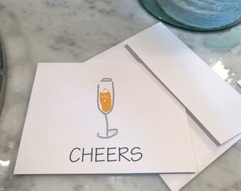Cheers Champagne Glass Notecards, Set of 10